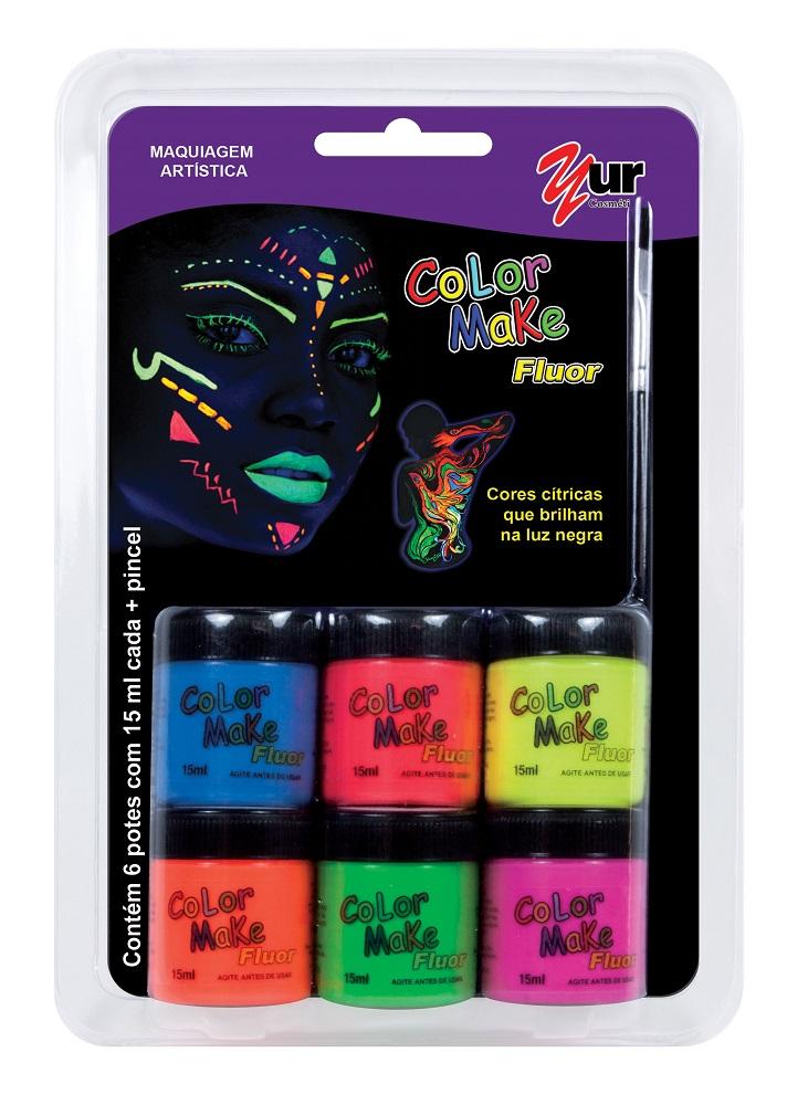 Pintura Facial Liquida com 6 cores de15ml Fluorescente e Pincel - Color Make