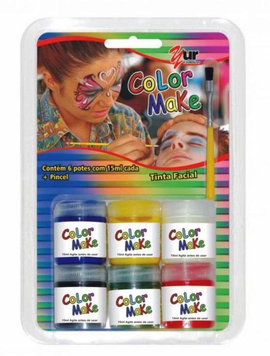 Pintura Líquida Kit com 6 Cores de 15ml e Pincel - Color Make