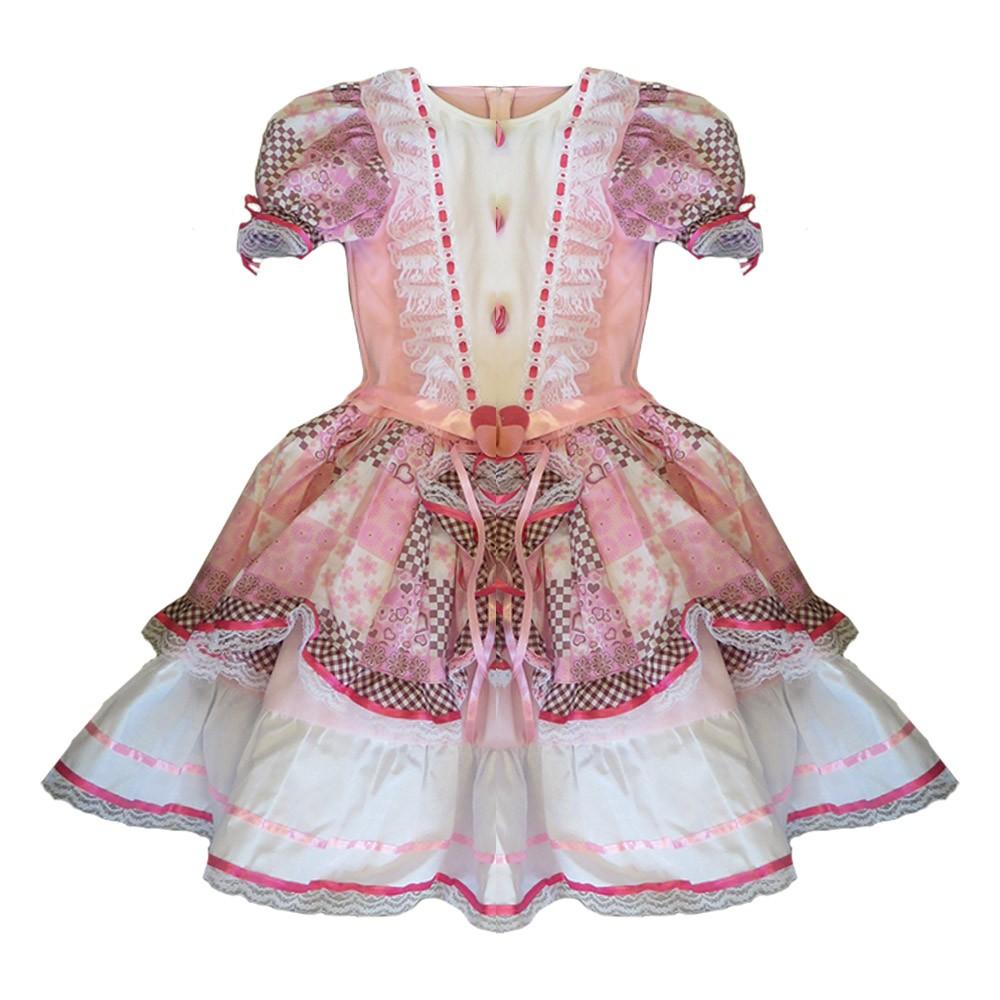 Vestido Caipira Babado Rosa - Infantil