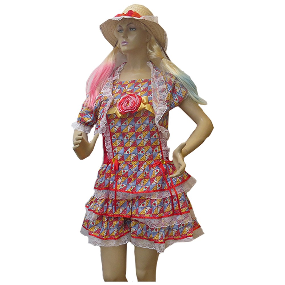 Vestido Caipira Luxo Flanela Festa Junina - Adulto