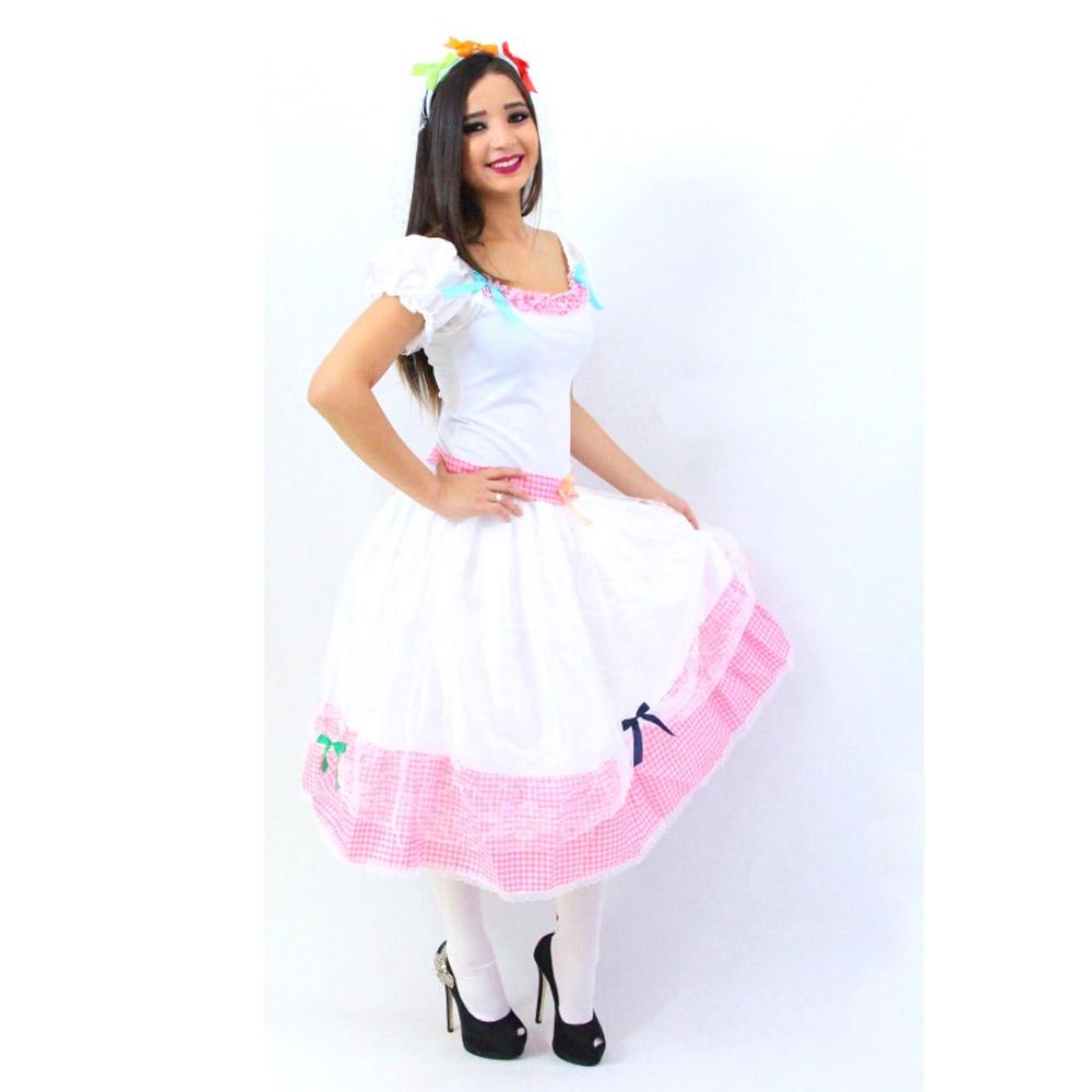 c05d7ac1a1 Vestido Noiva Caipira Festa Junina - Adulto - Kitok Festas e Fantasias