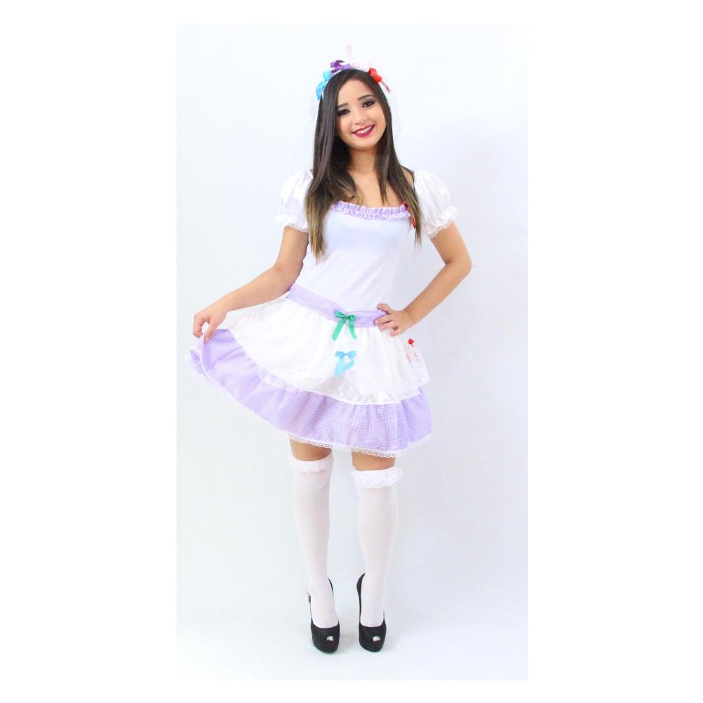 Vestido Noiva Caipira Curta Festa Junina - Adulto
