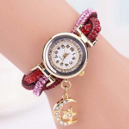 2fcd6895517 Relógio de Pulso Feminino - Analógico- Pulseira de Couro - Strass - Lua e  Estrela