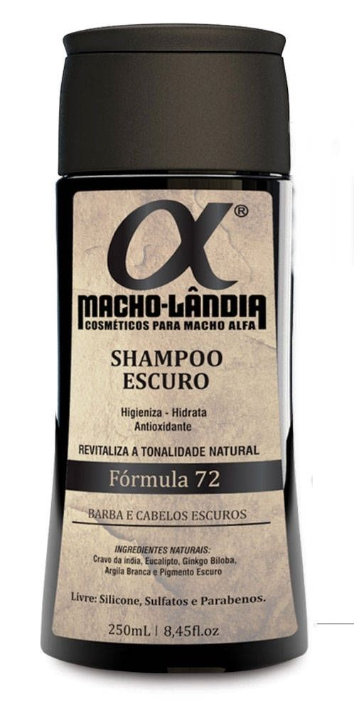 Shampoo Macho Lândia Formula 72 - Barba e Cabelos Escuros
