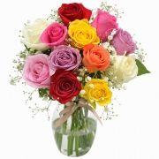 12 Rosas Nacionais Coloridas No Vidro