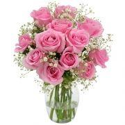 12 Rosas Nacionais Rosadas No Vidro