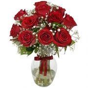 12 Rosas Nacionais Vermelhas No Vidro
