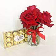 Rosas Colombianas no Vidro e Ferrero Rocher