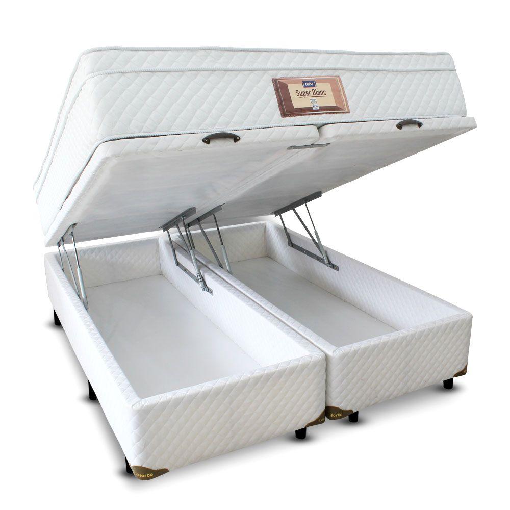 Cama Box Bau com Colchão Mola Bonnel com Pillow-top