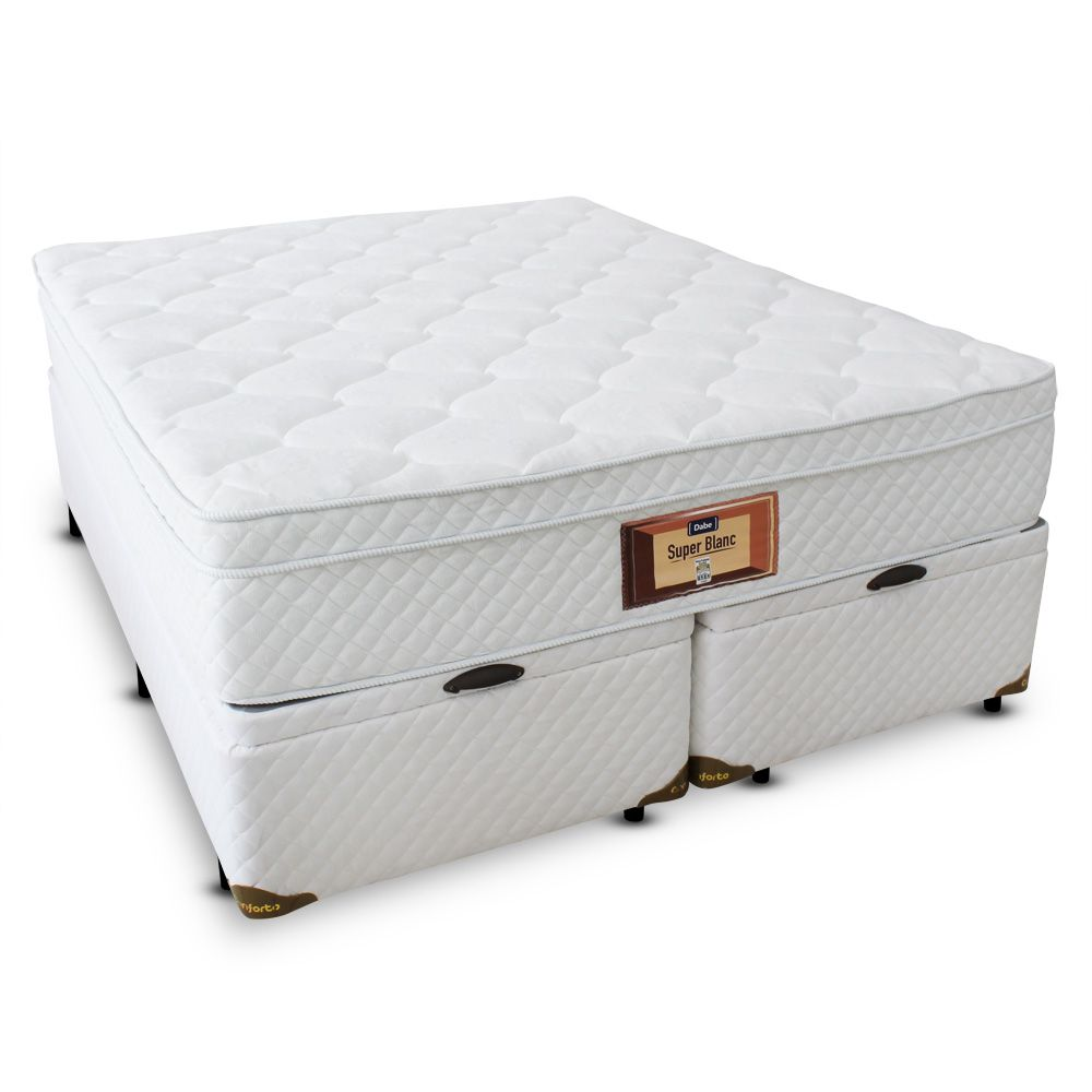 Cama Box Bau King Size com Colchão Molas Ensacadas com Pillow-top