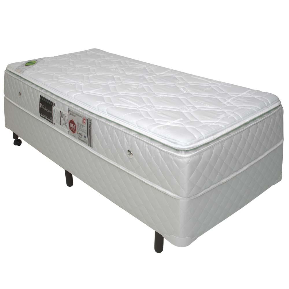 Cama Box Solteiro Simples com Colchão de Molas Ensacadas com Pillow-Top