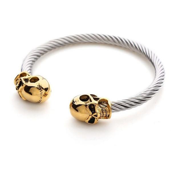 Pulseira Masculina Aço Skull Gold