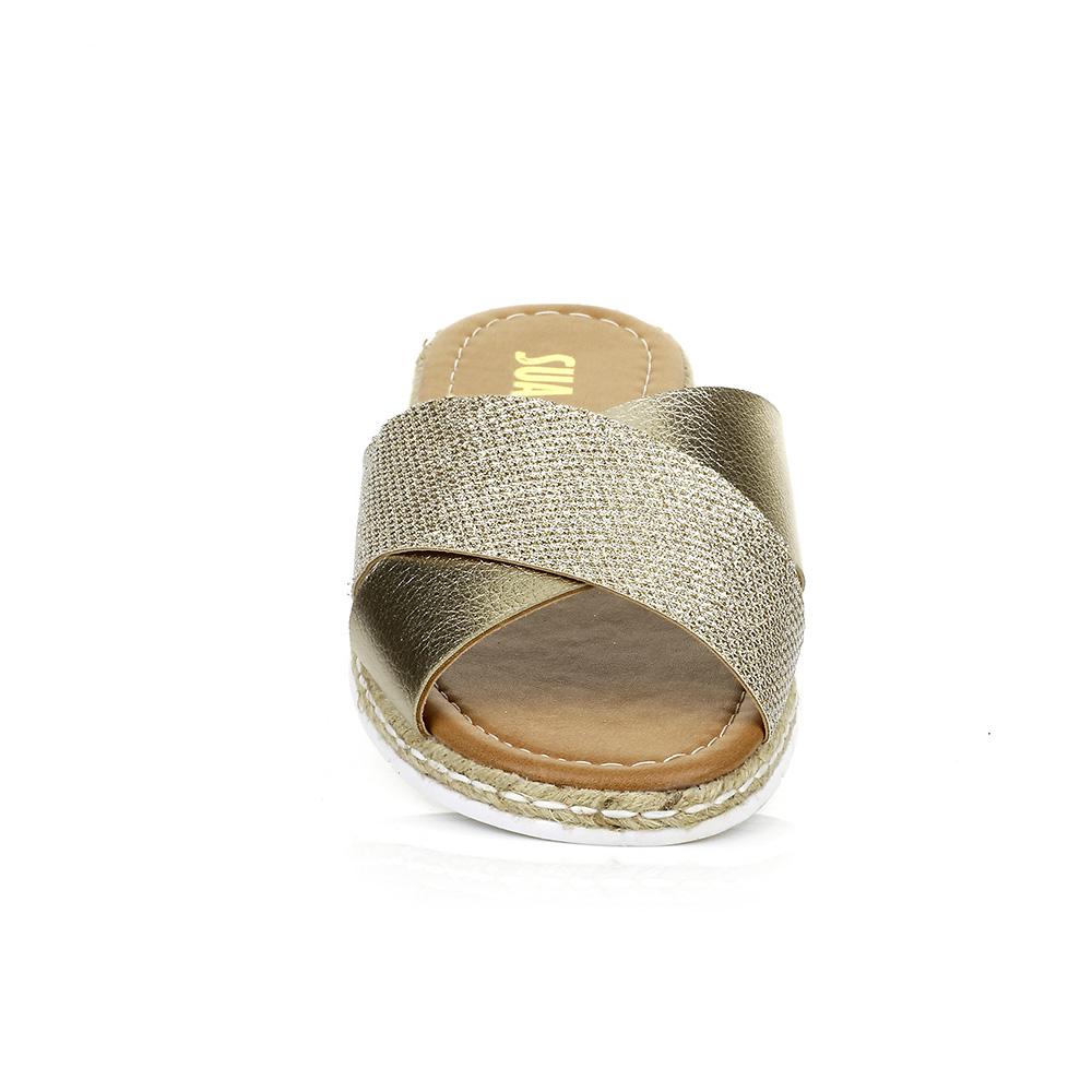 Rasteira Ouro com Detalhe em Tela Glitter Sua Cia 10996