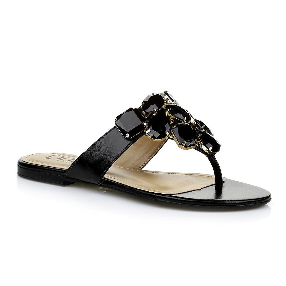 Rasteira com Pedrarias Preta DNA Shoes 101.055