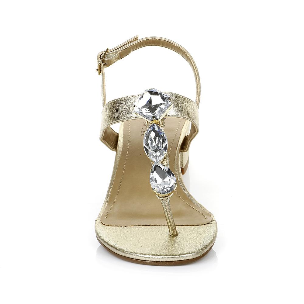 Sandália Salto Baixo com Pedrarias Dourada DNA Shoes 301.026