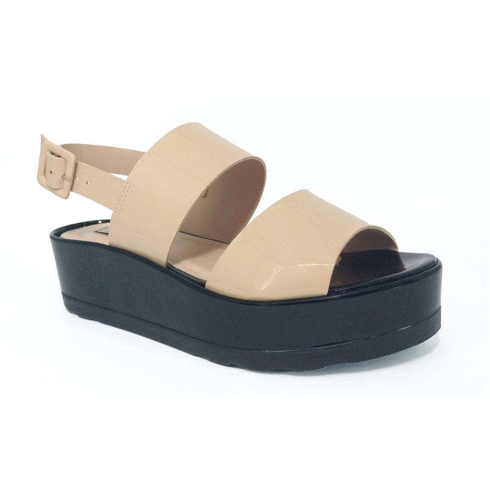 Sandália Flatform Nude Lia Line 1652-8565
