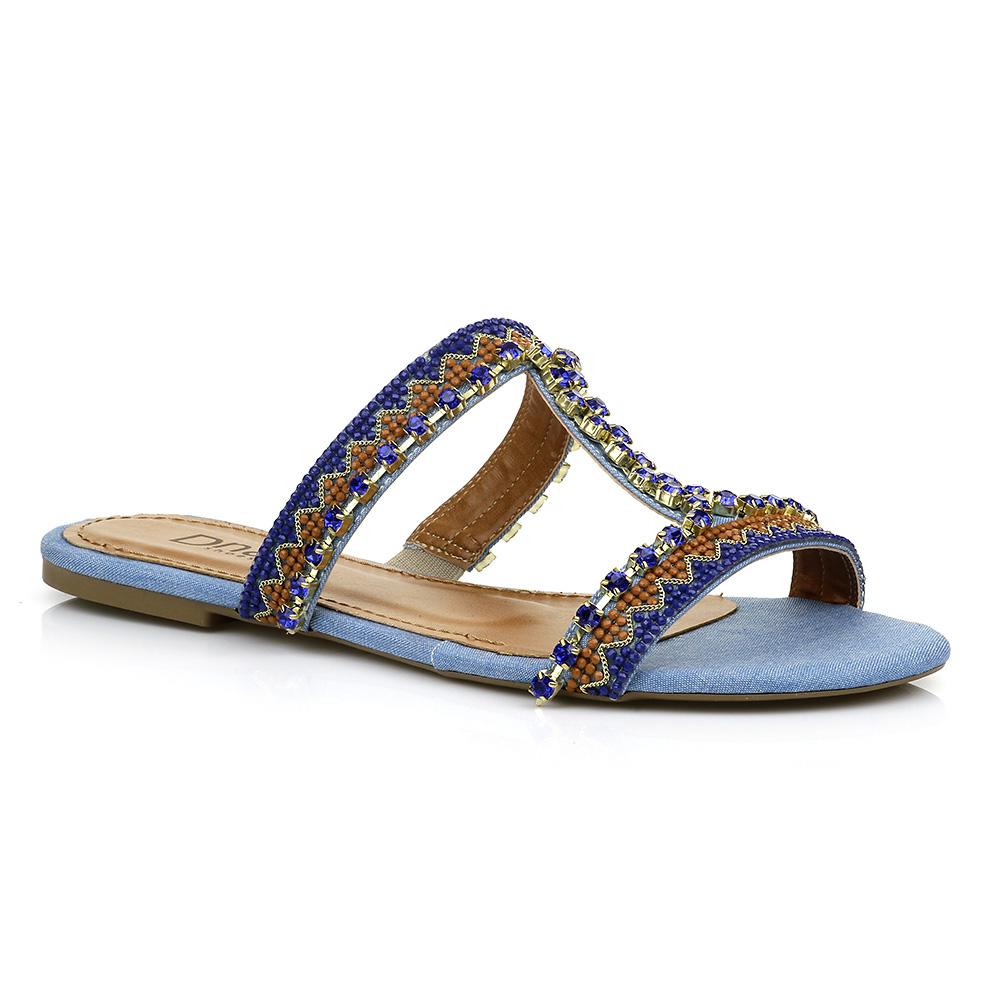 Sandália Rasteira com Pedrarias Jeans DNA Shoes 30.138