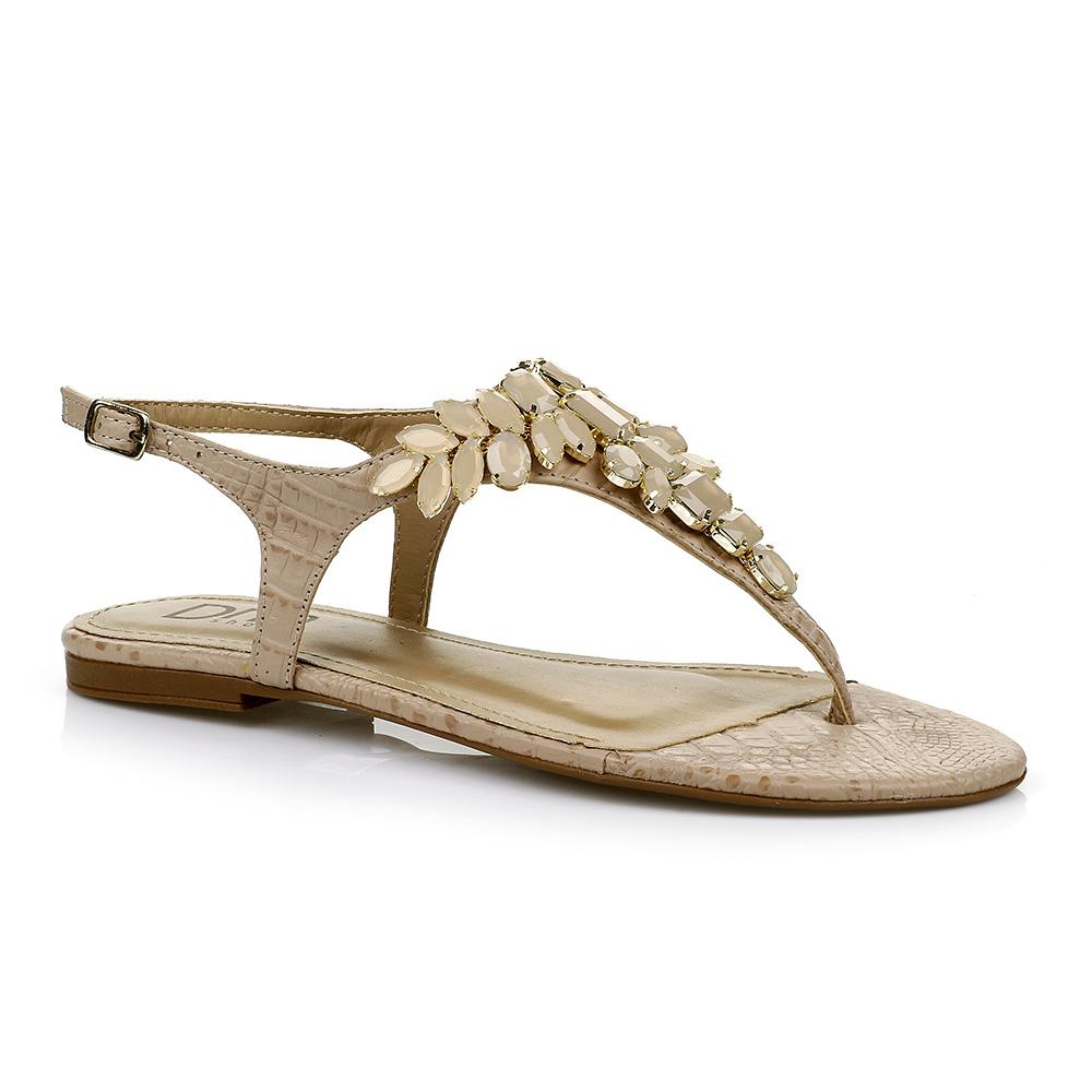 Sandália Rasteira com Pedrarias Nude DNA Shoes 101.041