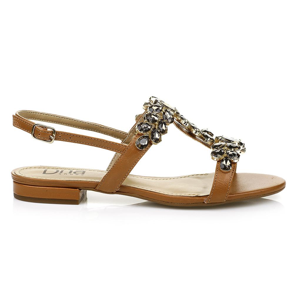 Sandália Rasteira com Pedrarias DNA Shoes 102.053