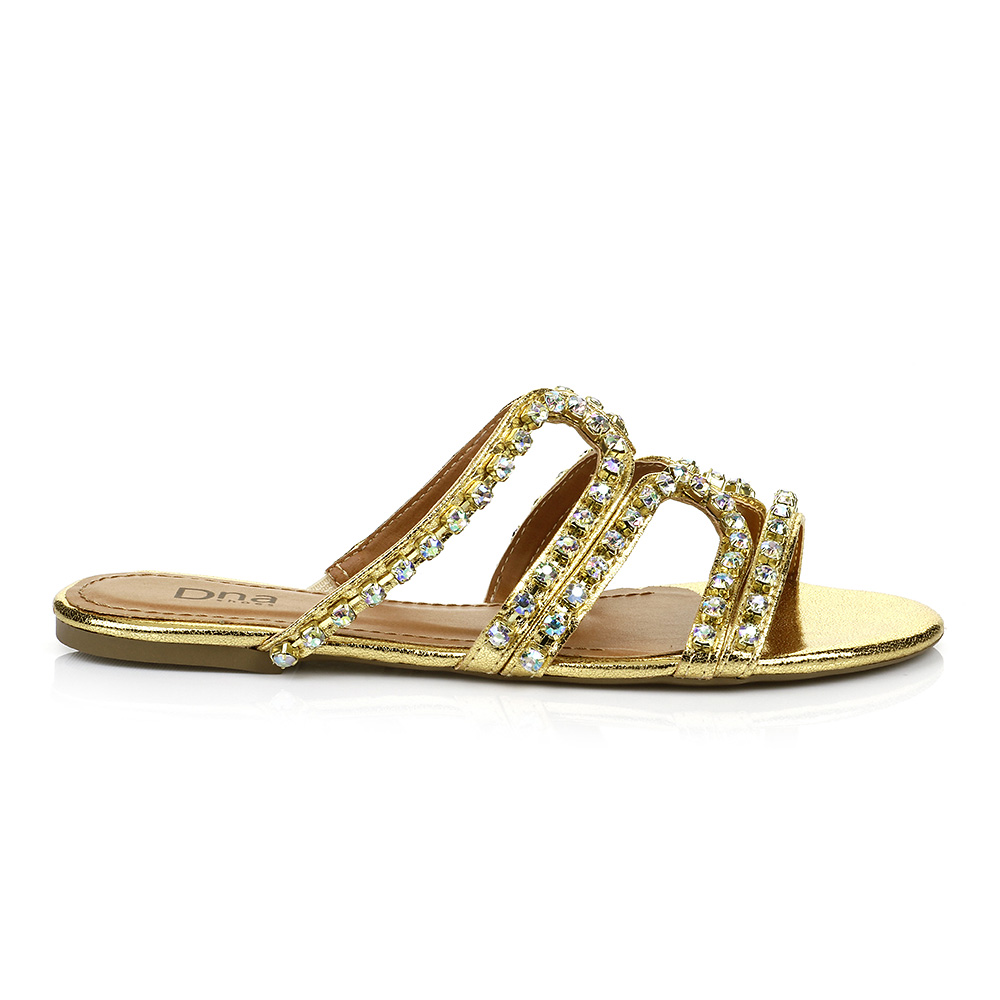 Sandália Rasteira Strass Ouro DNA Shoes 30.136