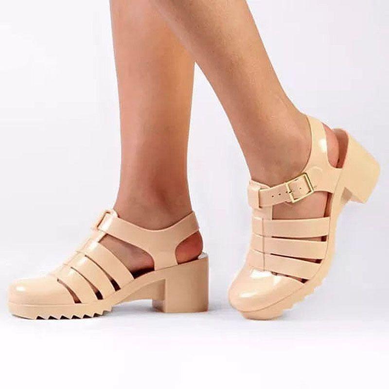 Sandalia Salto Bloco Amora Nude PJ1254