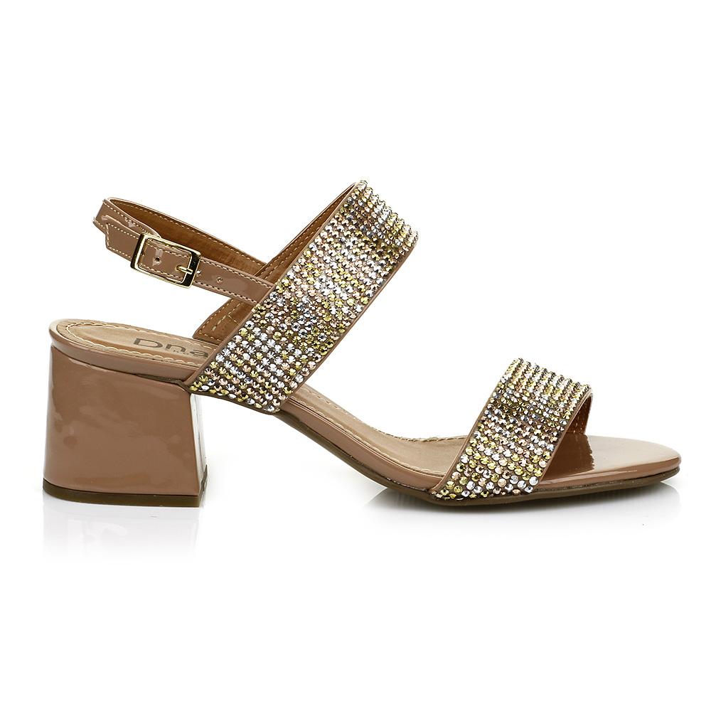 Sandália Salto Bloco Verniz Strass DNA Shoes 60.218