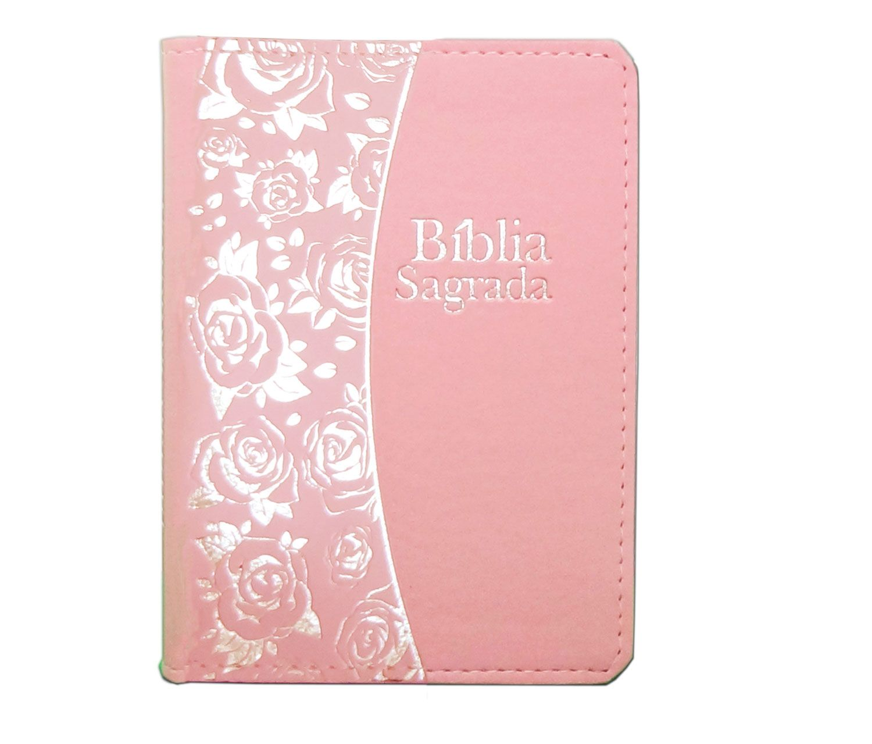 Bíblia Pequena Luxo Flor Prata