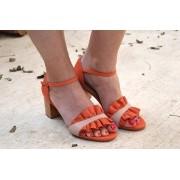 Sandália com babado Laranja Lais
