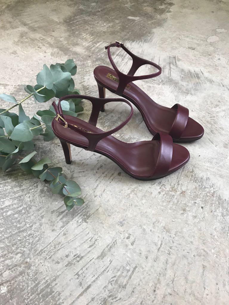Sandália salto Tira Couro - Bordô   - Angelina Vai às Compras