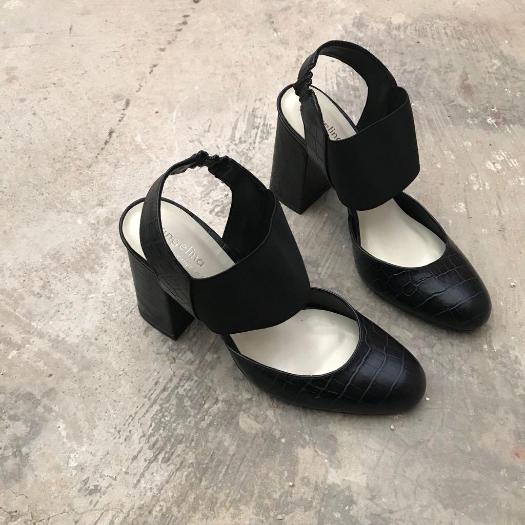 Sapato Croco Preto com Elástico  - Angelina Vai às Compras