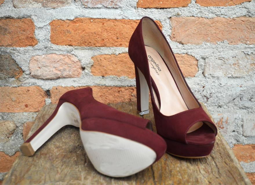 Sapato Peep Toe  Vinho