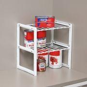 Rack Organizador de Objetos / Prateleira Ganha Espaço Dupla Pequena Branco - Metaltru