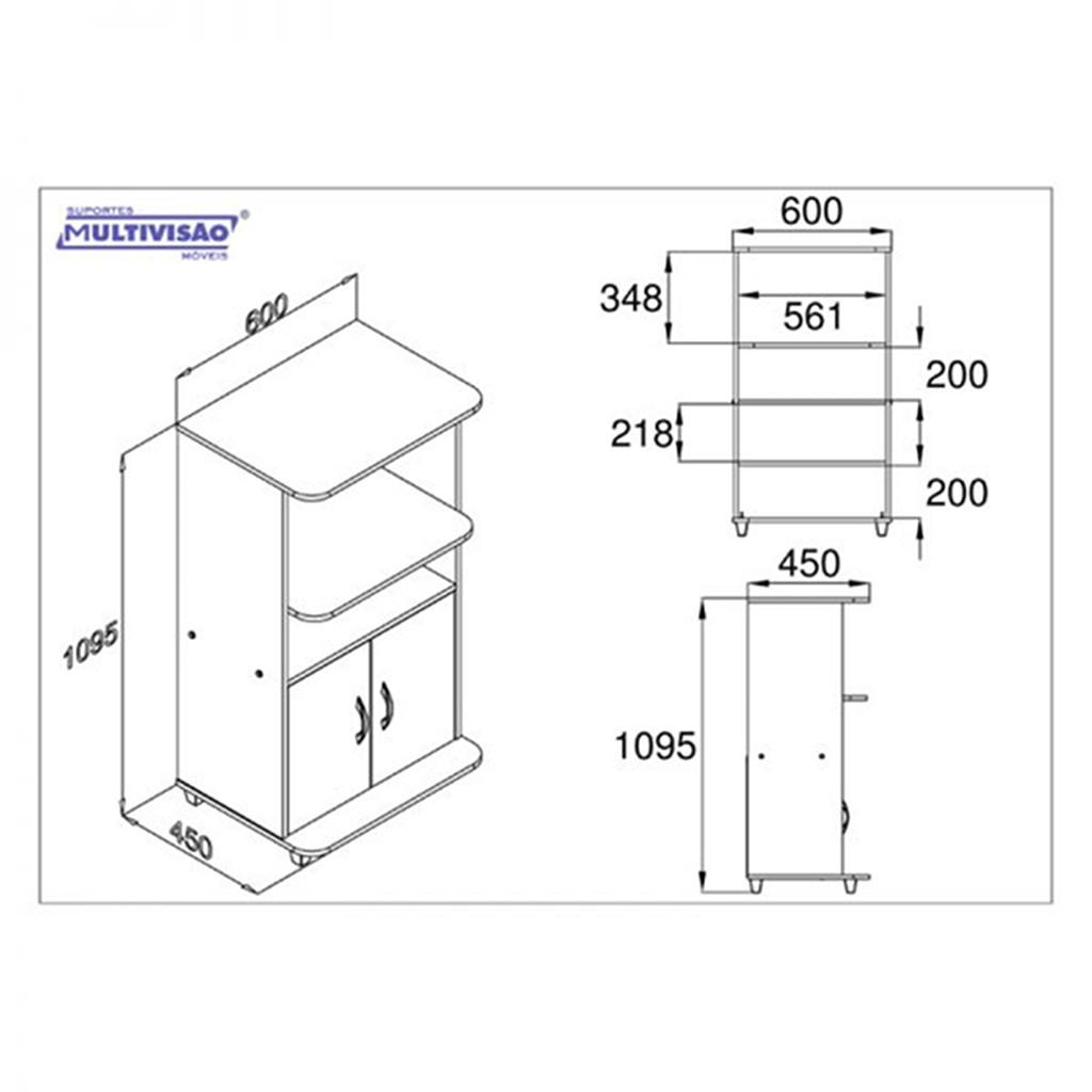 Armário/Balcão Multiuso p/ Forno Microondas MF100 Multivisão