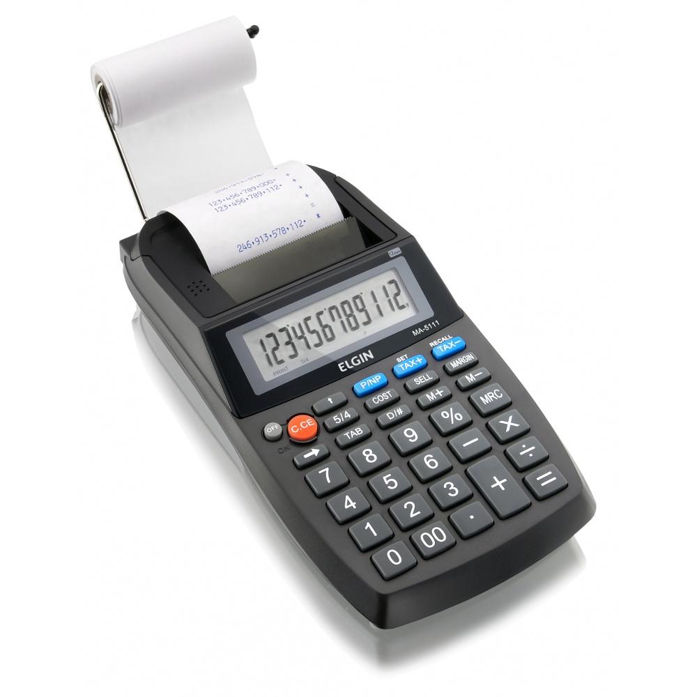 Calculadora Eletrônica de Mesa Elgin MA 5111 12 Dígitos Visor LCD c/ Bobina Velocidade de Impressão 2,7 Linhas/segundo