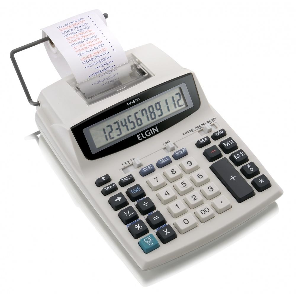 Calculadora Eletrônica de Mesa Elgin MA 5121 12 Dígitos Visor LCD c/ Bobina Velocidade de Impressão 0,7 Linhas/segundo
