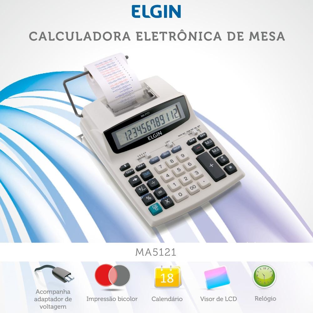 Calculadora Eletrônica de Mesa Elgin MA 5121 12 Dígitos Visor LCD Bobina Velocidade de Impressão 0,7 Linhas/segundo
