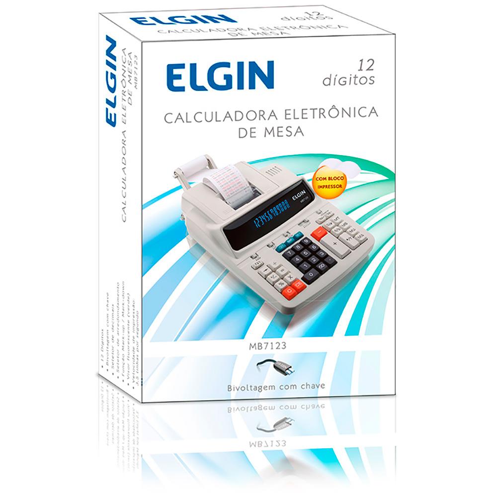 Calculadora Eletrônica de Mesa Elgin MB 7123 12 Dígitos Visor Fluorescente c/ Bobina Velocidade de Impressão 3.5 Linhas/segundo