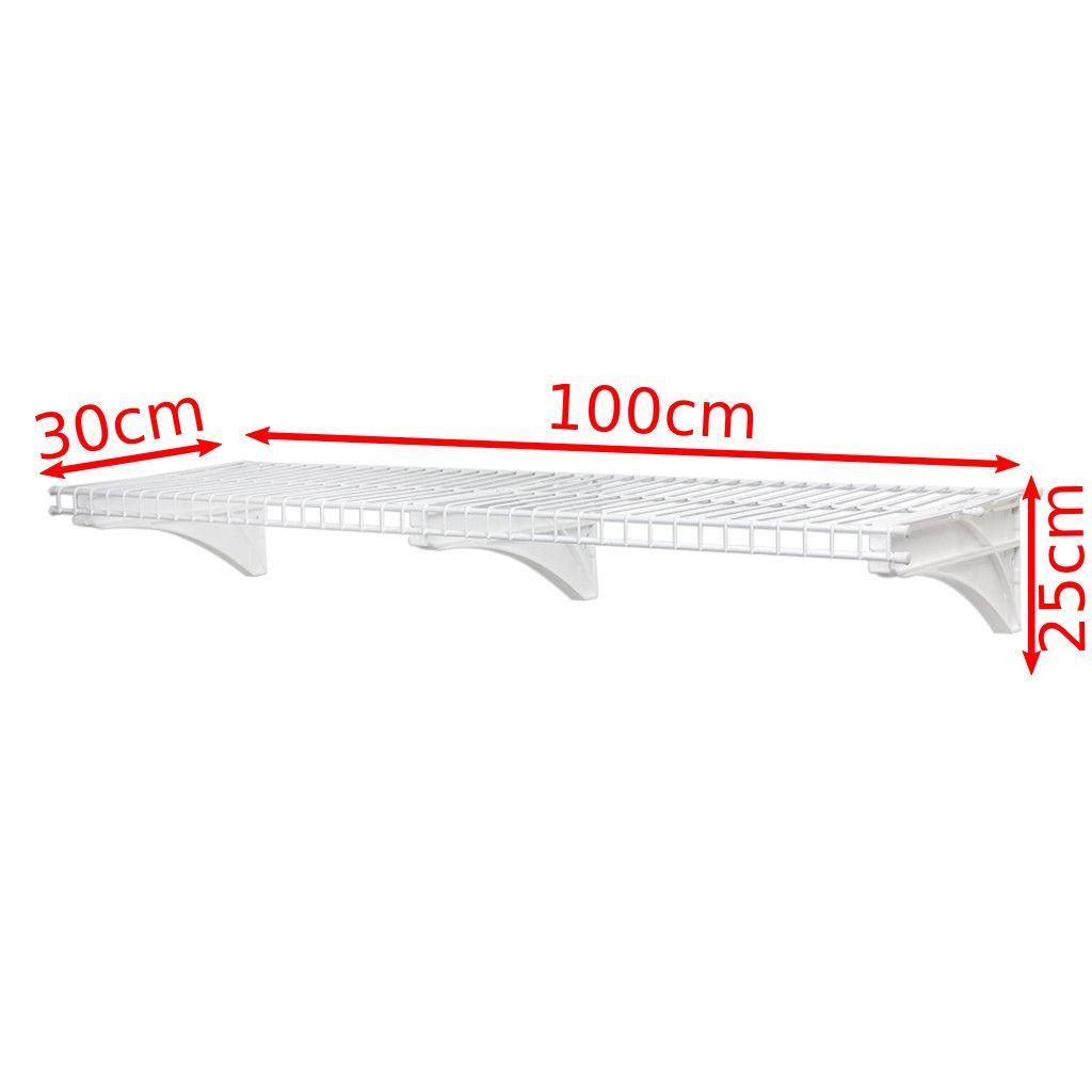 Combo 3 Prateleiras Multiuso Ventilada Aramada 1m 45Kg c/ Trilho - Metaltru