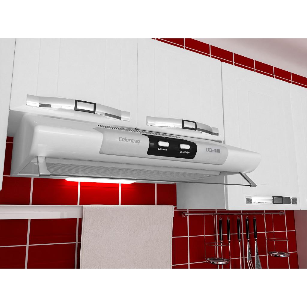 Depurador de Ar Colormaq DCM 80 cm Bivolt Branco p/ Fogão de 6 Bocas
