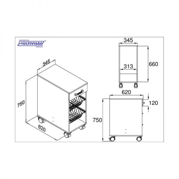 Gabinete p/ Filtro de Água ou Multiuso c/ Fruteira Multivisão AS690