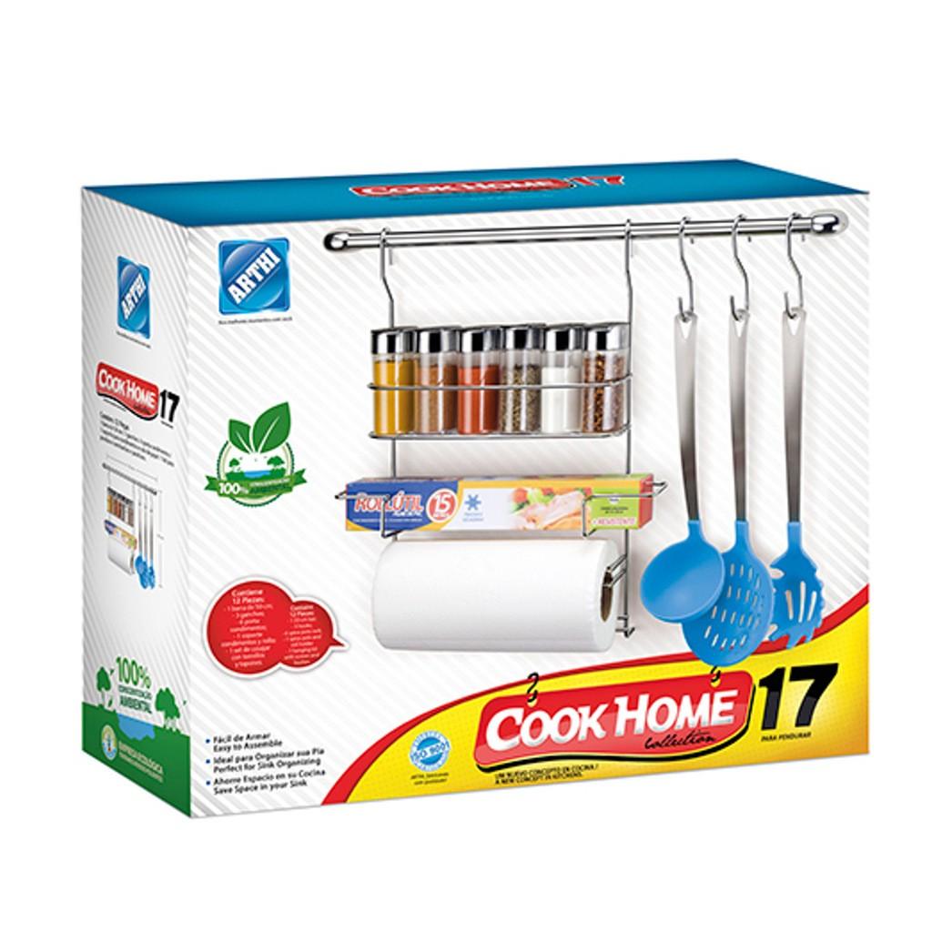 Kit Cook Home 17 Cozinha Suspensa 12 Peças Aço Cromado Suporte Porta Condimento/Rolo - Arthi