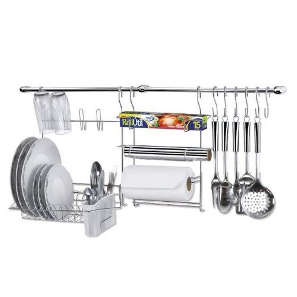 Kit Cook Home 9 Cozinha Suspensa 11 Peças Aço Cromado Escorredor/Porta Rolo - Arthi