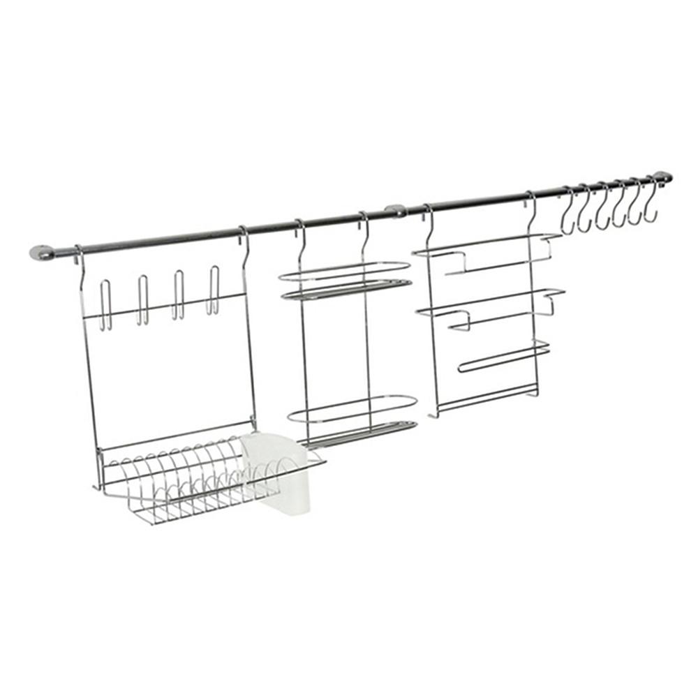 Kit de Cozinha Suspensa Cook Home 10 Aço Cromado 12 Peças Escorredor Porta Rolo/Tempero - Arthi