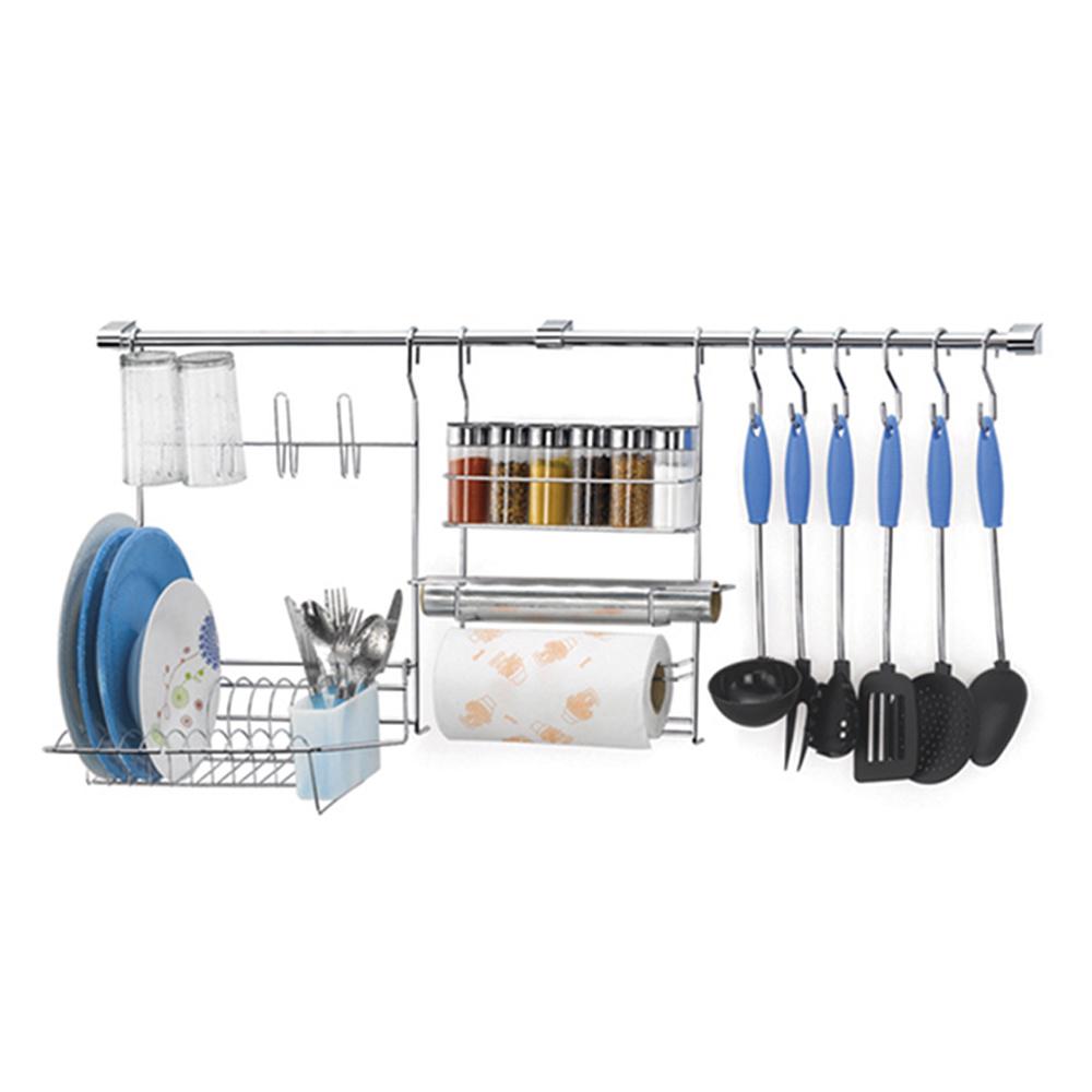 Kit Cook Home 18 Cozinha Suspensa 23 Peças Aço Cromado Escorredor Porta Rolo/Tempero - Arthi 23