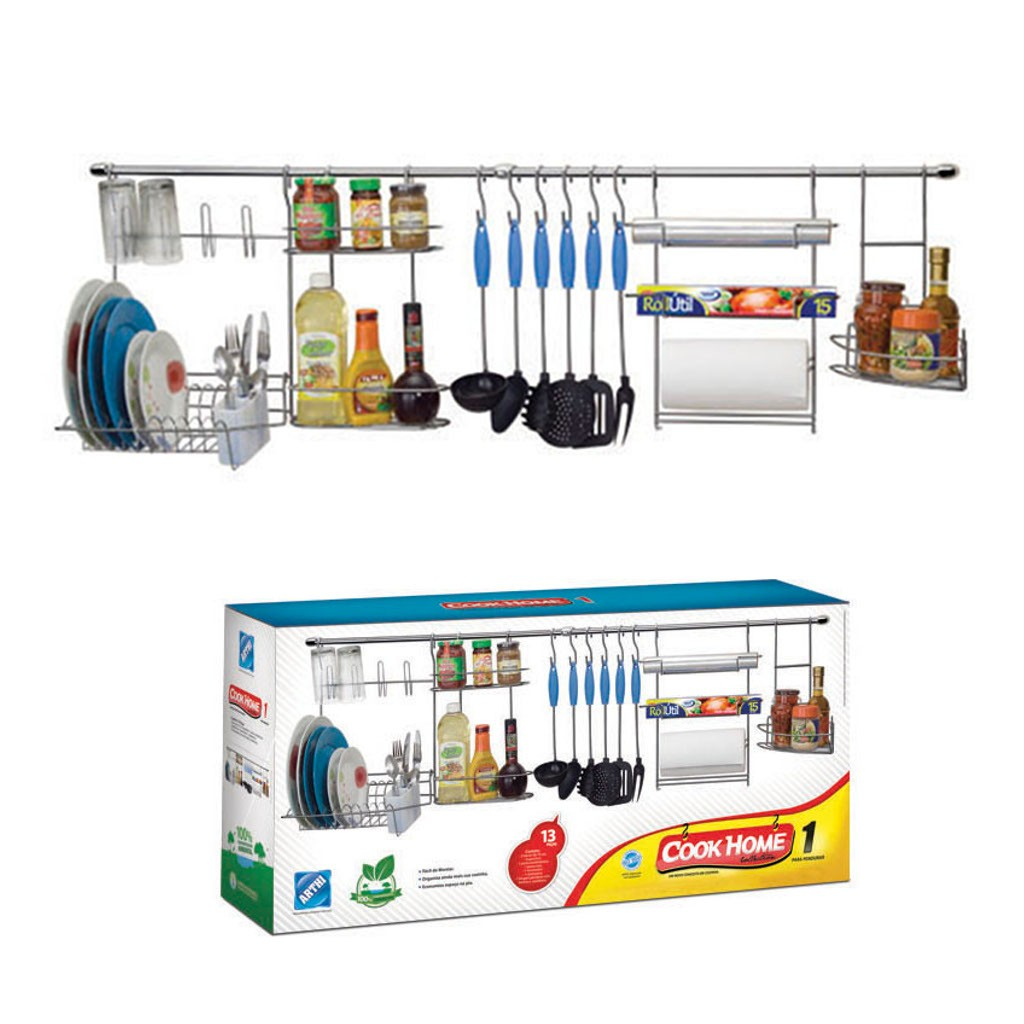 Kit de Cozinha Suspensa Cook Home 1 Aço Cromado 13 Peças Escorredor Porta Rolo/Tempero - Arthi