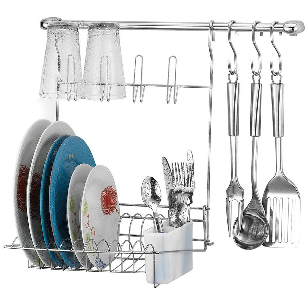 Kit de Cozinha Suspensa Cook Home 8 Aço Cromado 6 Peças Escorredor Ganchos p/ Utensílios - Arthi