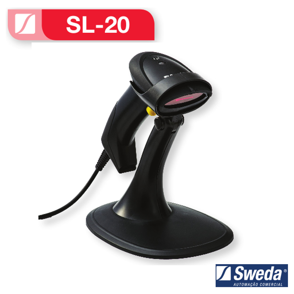 Leitor de Código de Barras SL-20 Sweda c/ Suporte Lê Boleto Bancário
