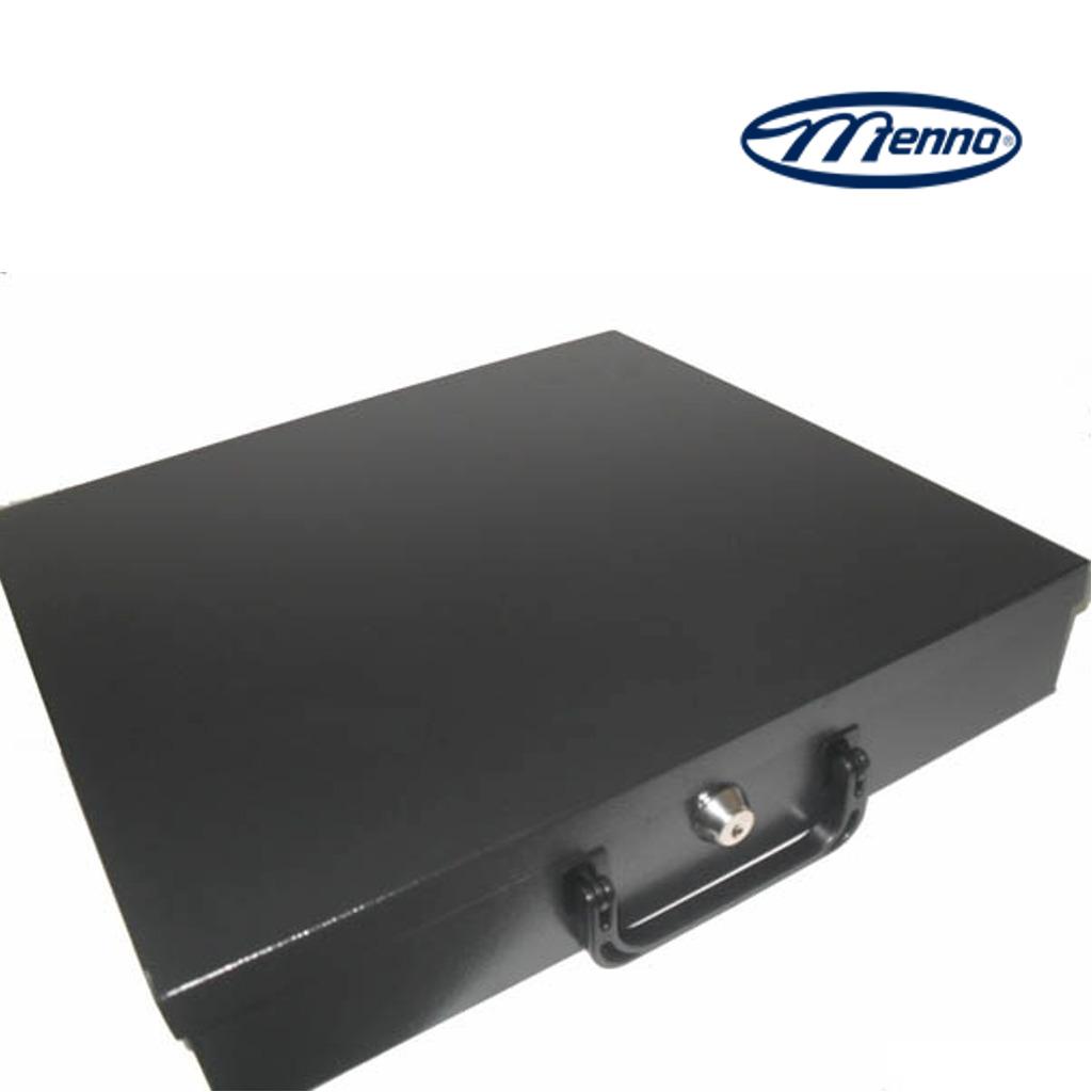Maleta Metálica de Dinheiro c/ Porta Cédulas e Moedas c/ Tampa e Chave Menno MG40
