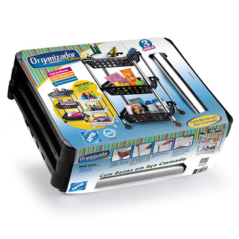 Organizador Multiuso / Fruteira 3 Andares c/ Rodízios Arthi