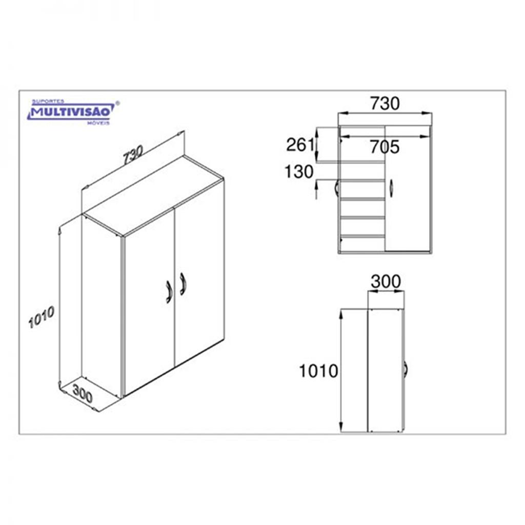 Sapateira/Armário Multiuso com Portas p/ 18 Pares de Calçados 6 Prateleiras Multivisão SAPT-PORTA